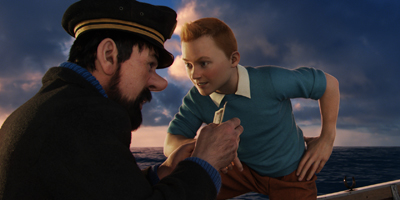 Tintin and Captain Haddock on a Boat