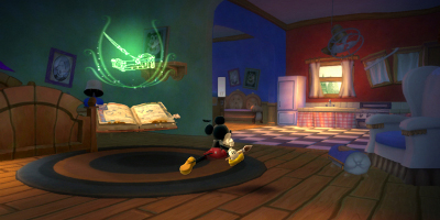 Mickey running through a house