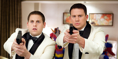 Jonah Hill and Channing Tatum Pointing Guns