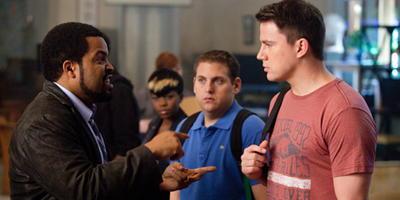 Jonah Hill and Channing Tatum Talking to Ice Cube