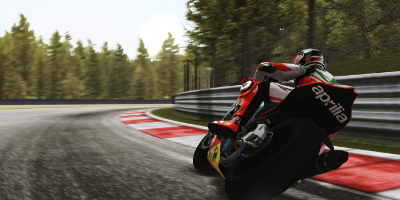 A rider speeding round the Autodromo Di Monza