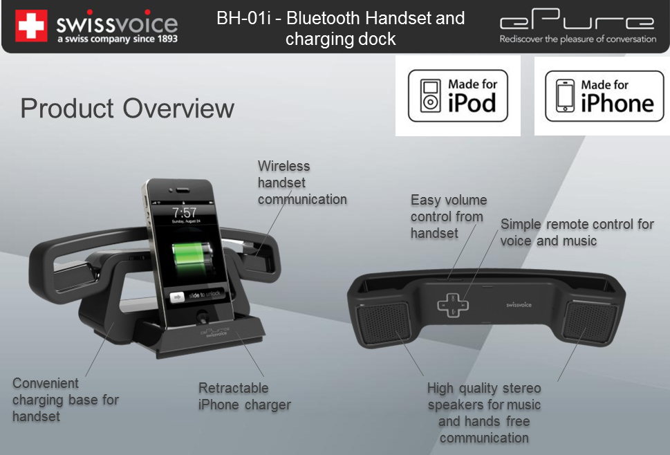 Swissvoice ePure Bluetooth Audio iPhone Companion Handset Black
