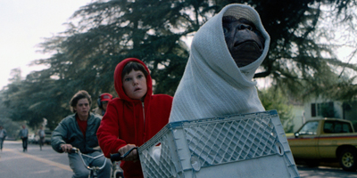 E.T. in Basket on Front of Bike