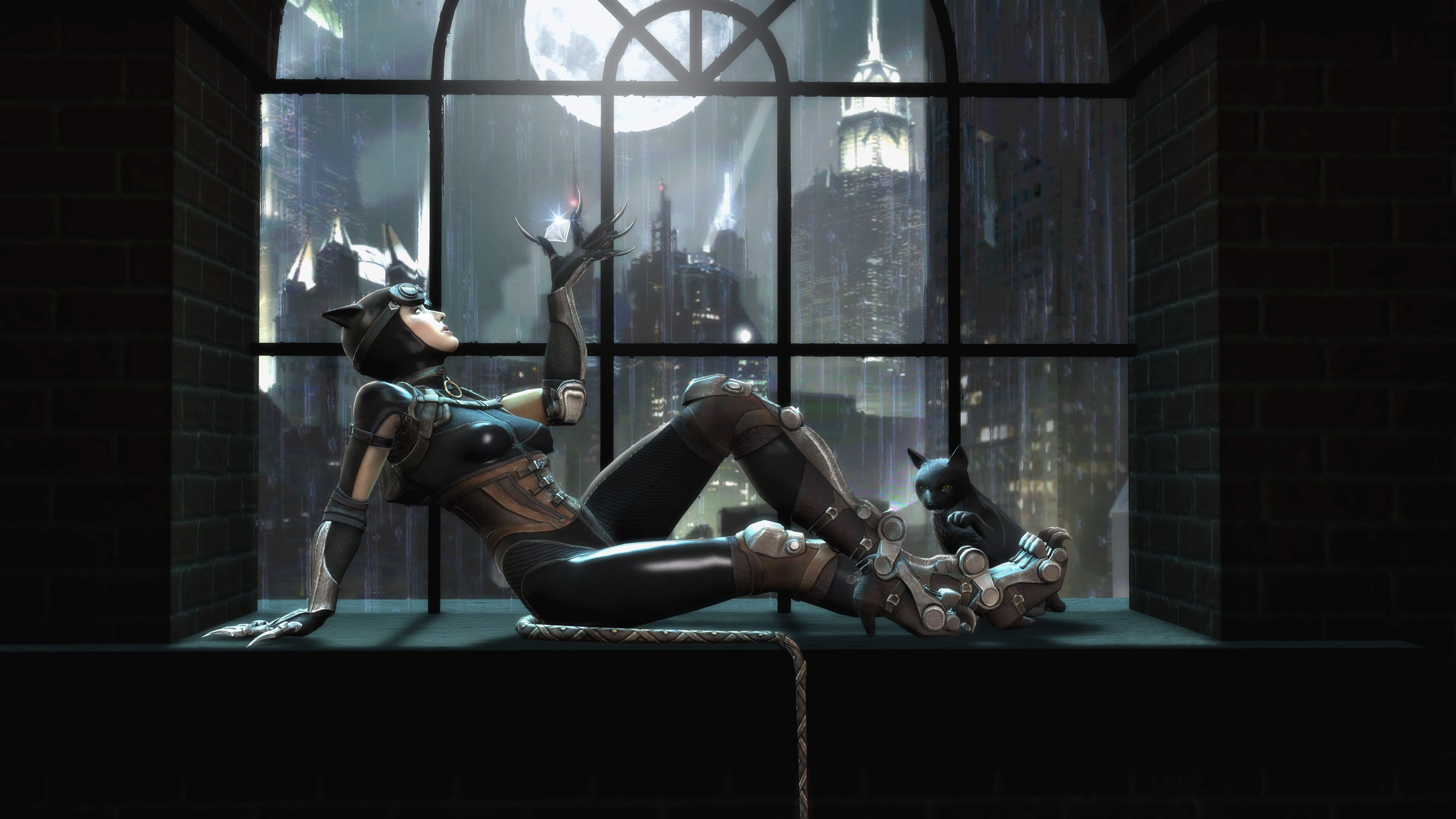 Catwoman by a window