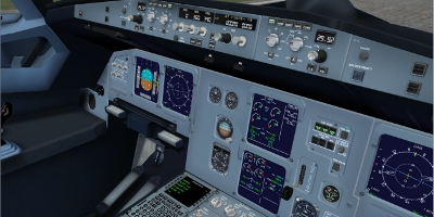 The cockpit view of an Airbus A320