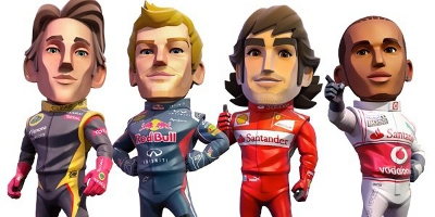 (Left to right) Romain Grosjean, Sebastian Vettel, Fernando Alonso, and Lewis Hamilton
