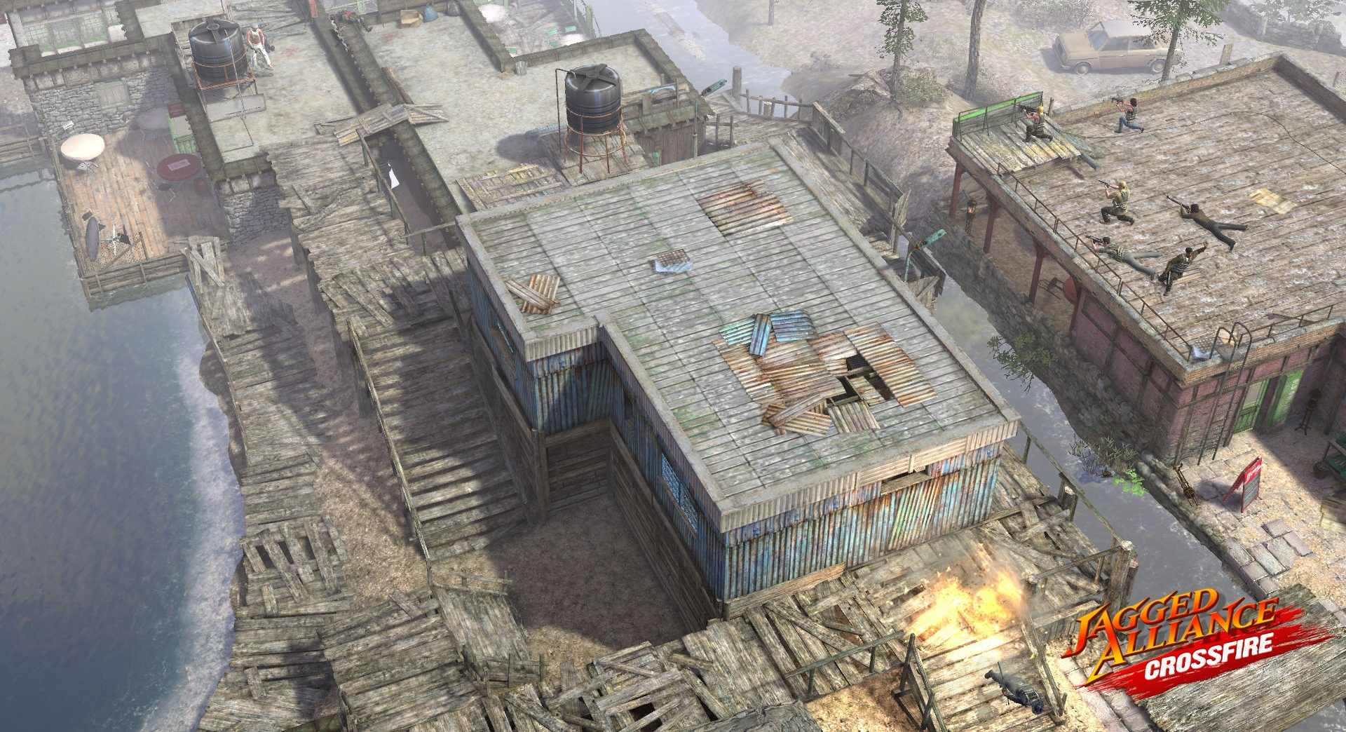 raid in buildings by a dock