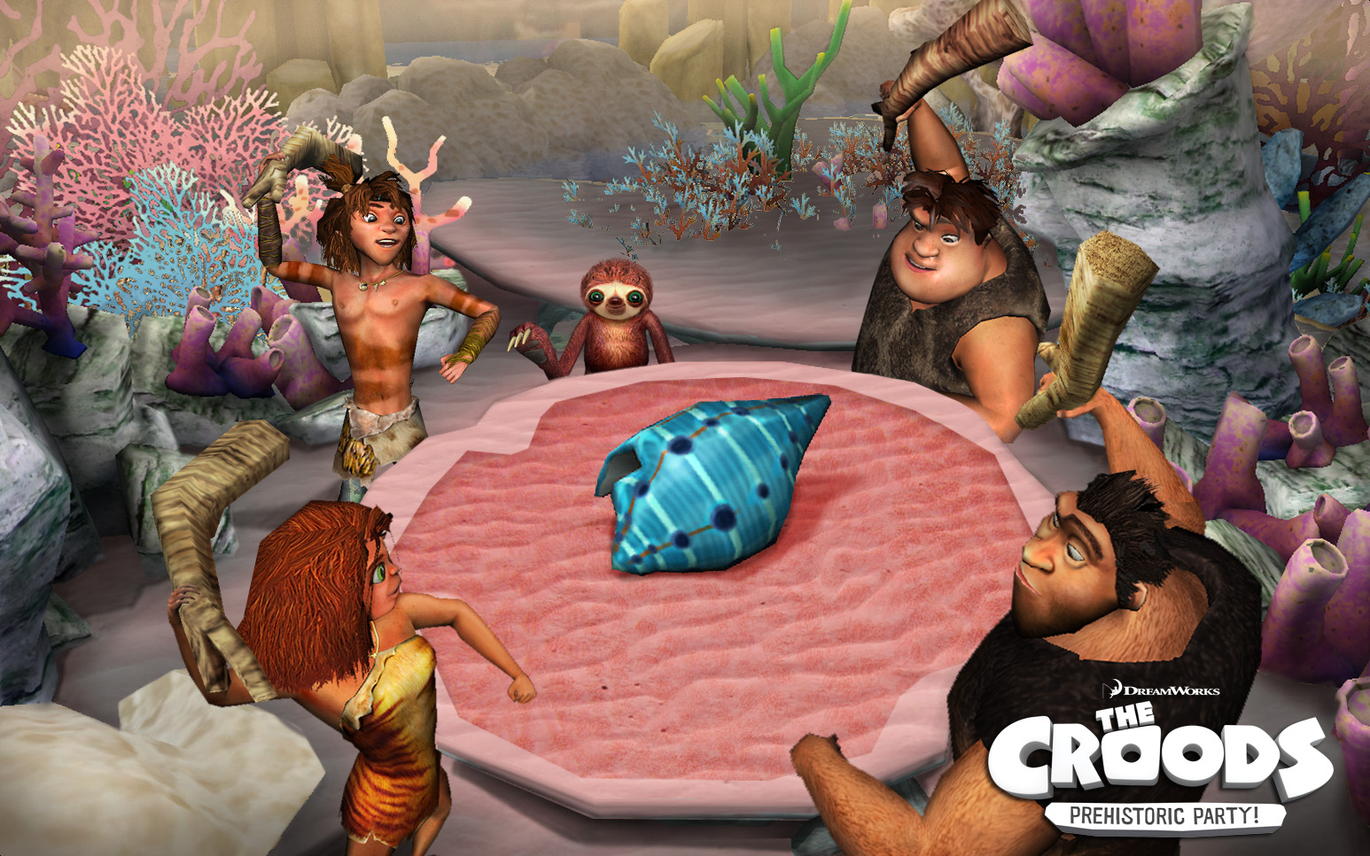 croods eating at a table