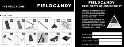 FieldCandy Tent Instructions and Certificate of Authenticity