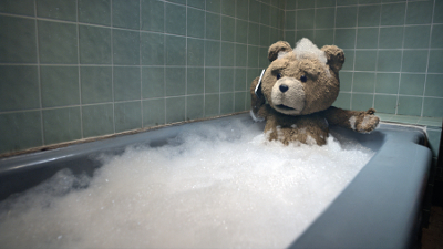 Ted in the bath.