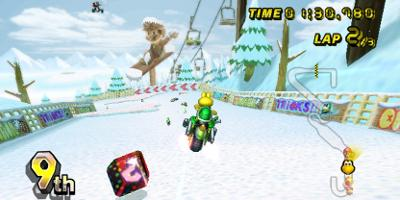 Koopa Trooper, racing round a wintery track