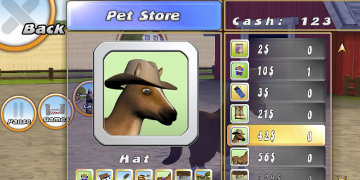 A screenshot of the player in the 'Pet Store