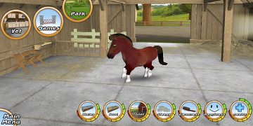 The player's horse, in it's stable