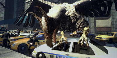 A large eagle-like creature destroying a police car