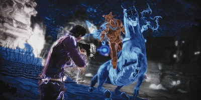 The player shooting at a blue horse-like creature and it's rider