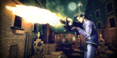 The player, firing one of the many extravagant guns in the game