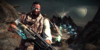 main character with gun