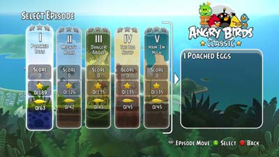Angry Birdy Menue