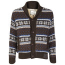 Brave Soul Men's Barker Button Through Cardigan - Brown Combo