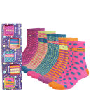 Miss Outrage Women's 5 pack Socks Gift Set- Pink/Multi