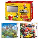 Nintendo 3DS XL Silver and Black Console - Includes New Super Mario Bros 2, Super Smash Bros. & Fantasty Life