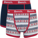 Bench Men's 2 Pack Fairisle Fashion Trunks - Navy/Red