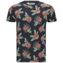 Jack & Jones Men's Repeat Palm Print T-Shirt - Black/Navy Floral