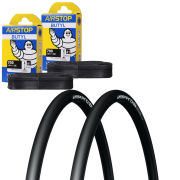 Michelin Pro 4 Race Service Course Clincher Road Tyre Twin Pack with 2 Free Tubes -Black 700c x 23mm