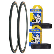 Michelin Dynamic Classic Clincher Road Tyre Twin Pack with 2 Free Inner Tubes - Black 700c x 25mm