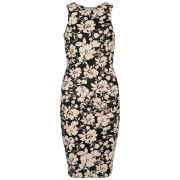 Club L Women's Sleeveless Floral Printed Midi Dress - Black/Beige