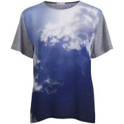 Draw In Light Women's Fluffy Clouds Unisex Silk T-Shirt - Digi On Grey