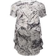 Neon Rose Sketchy Print Drop Hem T-Shirt - Grey