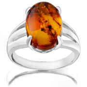 Stunning Silver Plated Amber Ring