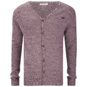 Brave Soul Men's Knitted Cardigan - Bordweaux Twist