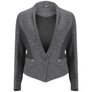 2nd Day Women's Panelled Cotton Blazer - Grey/Black