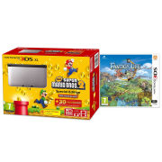 Nintendo 3DS XL Silver and Black Console - Includes New Super Mario Bros 2 & Fantasy Life