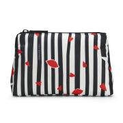 Lulu Guinness Lips and Stripes T-Seam Pouch - Black/White/Red
