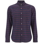 Oliver Spencer Men's Eton Collar Striped Shirt - Perth Navy/Red