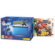 Nintendo 3DS XL Blue and Black Console - Includes Pokemon X & Super Smash Bros.