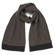 French Connection Luke Birdseye Stitch Scarf - Old Camel/Marine Blue
