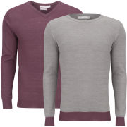 Brave Soul Men's Block Hem 2 Pack Knitwear - Charcoal & Aubergine