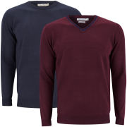 Brave Soul Men's Tipping 2 Pack Knitted Jumpers - Bordeaux & Dark Navy