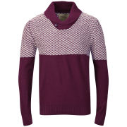 Brave Soul Men's Saber Shawl Neck Jumper - Bordeaux