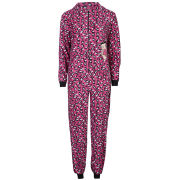 Betty Boop Women's Leopard Print Fleece Onesies - Pink
