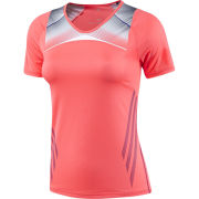 adidas Women's Adizero Short Sleeve T-Shirt - Red Zest/Blast Purple