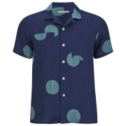 YMC Men's Spot Collar Shirt - Indigo