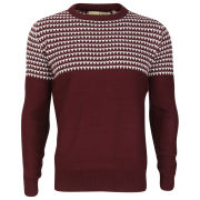 Brave Soul Men's Edward Jacquard Knitted Jumper - Bordeaux