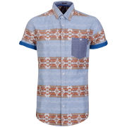 Soul Star Men's Zig Patterned Shirt - Blue