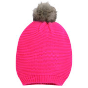 Codello Women's Winter Wonderland Knitted Hat with Faux Fur - Pink