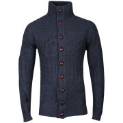 Brave Soul Men's Penrose High Neck Button Through Jumper - Navy